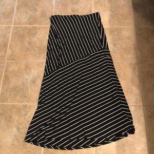 Asymmetrical Black and White Skirt